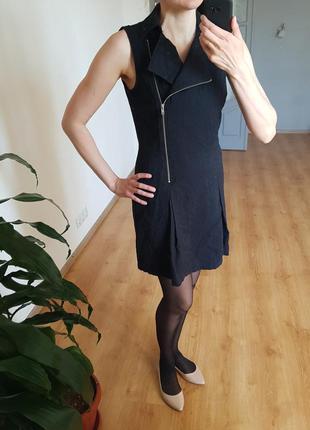 Черное платье mudo на замке 100% натуральные ткани