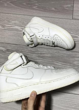Кроссовки nike air force 1 белые высокие оригинал кожаные размер 36