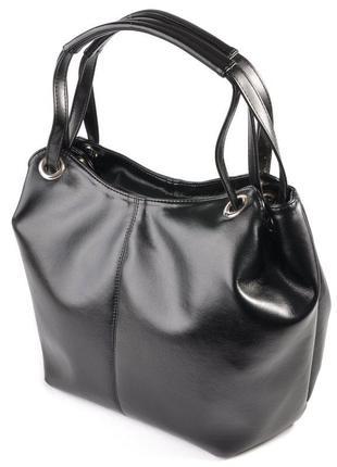 Черная большая женская сумка шоппер с ручками на плечо