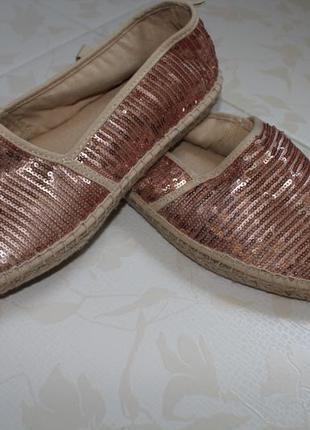 Балетки в паетках эспадрильи туфли летние tamaris 40-41