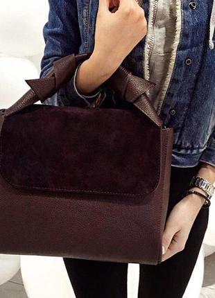 Итальянская бордовая кожаная сумка (натуральная кожа/замша), италия