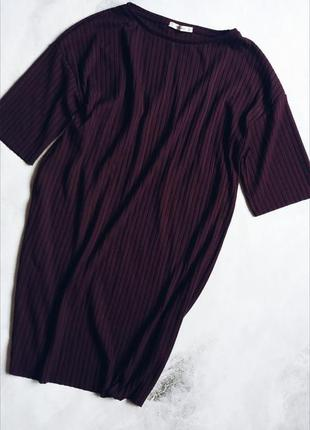 Платье в рубчик  оверсайз цвета марсала pull&bear