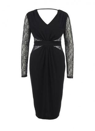 Шикарное черное платье миди с кружевом с открытой спинкой