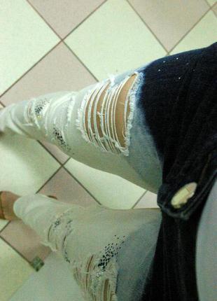 Суперские джинсы градиент с дырками и камнями swarovski