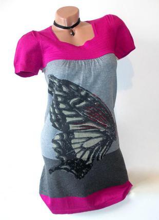 Короткое платье туника теплая со стразами