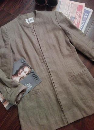 Пиджак-жакет длинный лен на подкладке