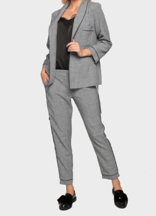 Стильный легкий льняной серый костюм пиджак брюки xs 34