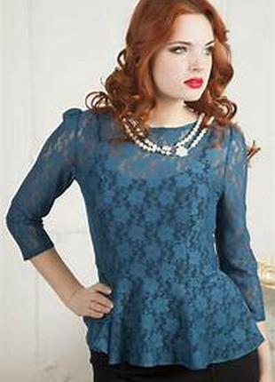 Крутая кружевная блуза изумрудного оттенка dorothy perkins