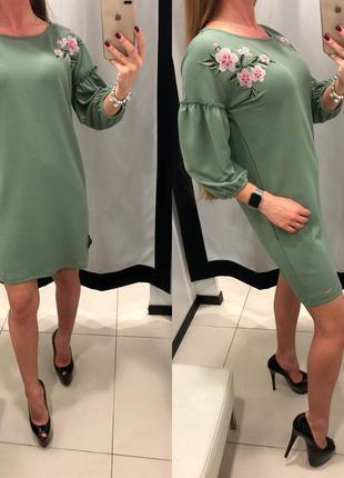 Платье mohito зеленое платье прямого кроя с вышивкой xs-xl