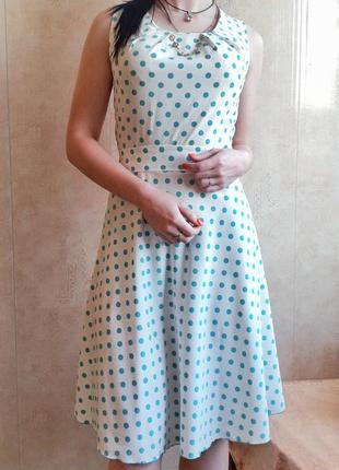 Платье в бирюзовый горошек