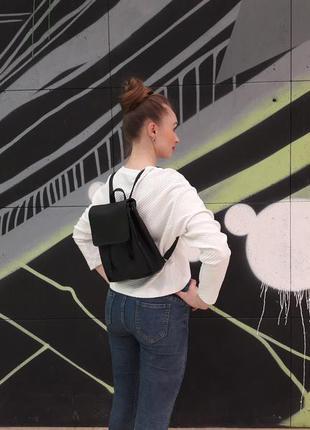 Маленький женский рюкзак черный эко кожа вместительный