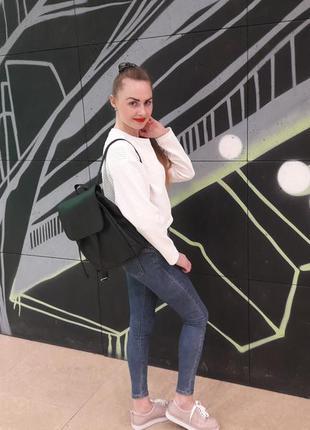 Маленький женский рюкзак черный эко кожа вместительный5 фото