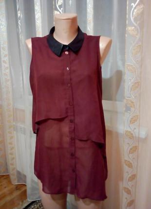 Шифоновая нарядная блуза марсал с воротником под кожу