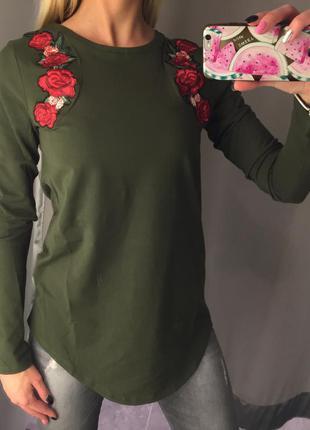 Реглан кофточка с вышивкой. amisu. распродажа. размеры разные.