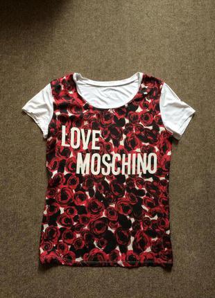 Белая брендовая футболка love moschino