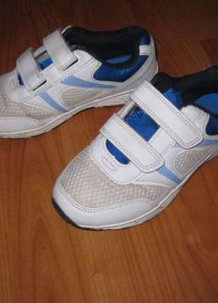 Спортивные кроссовки на липучках белые стелька 21см, 31 размер