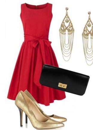 Праздничное красивое алое красное платье , l.