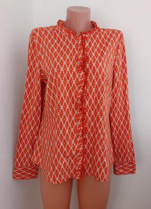 Красивая приталенная рубашка с интересным воротничком и застежкой ! р наш 46 германия