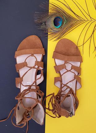 Новые сандалии босоножки замша гладиаторы на шунуровке 40