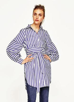 Платье рубашка в полоску от  zara