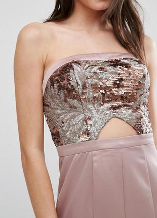 True decadence petite атласна бежева сукня верх в паєтках