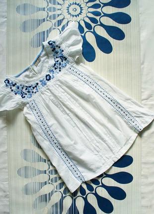 Вышиванка блуза с вышивкой белая хлопок блузка футболка топ рукавчик