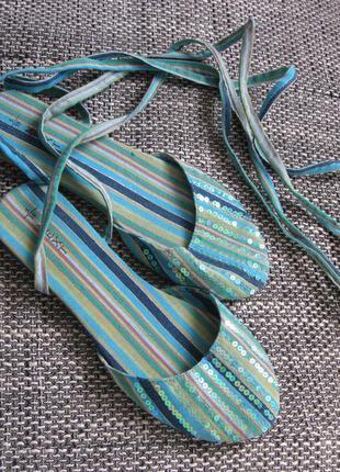 Нежные натуральные текстильные босоножки-пуанты гладиаторы на шнуровке пайетки 38 - 24 см