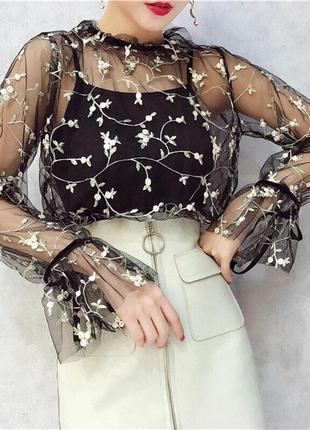 Блуза 3 цвета фатин сетка органза