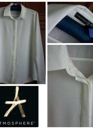 Базовая классическая молочно-белая блуза / рубашка разм. 10-12