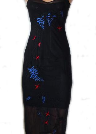 Крутое супер платье сетка с вышивкой в облипку от известного бренда / 8