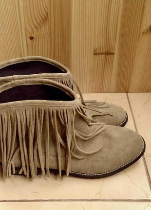 Новые бежево-коричневые замшевые сапоги полусапожки с бахромой из натуральной замши от h&m