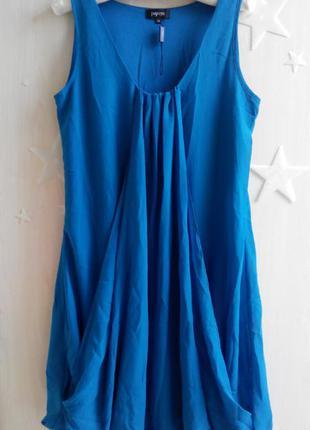 Платье шифоновое свободный крой балахон морская волна сарафан