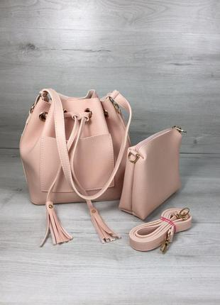 Женская сумка кесет через плечо молодежная с клатчем цвет розовая пудра