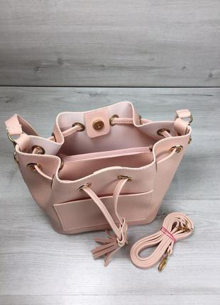 Женская сумка кесет через плечо молодежная с клатчем цвет розовая пудра3 фото