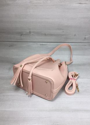 Женская сумка кесет через плечо молодежная с клатчем цвет розовая пудра2 фото