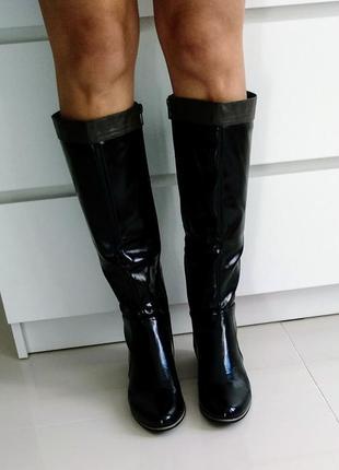 Сапоги осень-весна на низком каблуке черные размер 40, 26 см