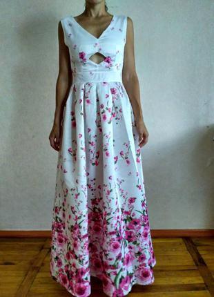 Белое длинное платье макси, в пол,  в цветы, вечернее, выпускное, свадебное платье