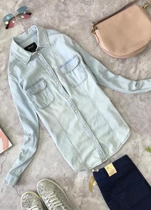 Рубашка из тонкой джинсовой ткани denim co  bl1816121  denim co