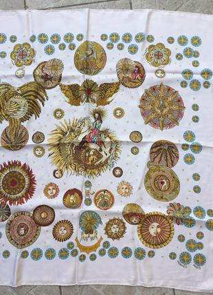 Винтажный платок hermes silk scarf le roy soleil by annie faivre
