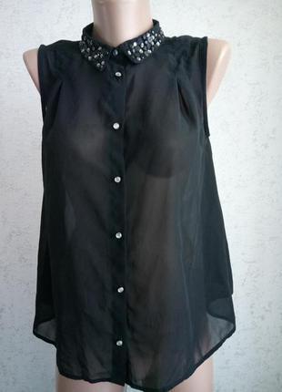 Новая лёгкая шифоновая блуза футболка девочке на рост до 152, 12 лет river island