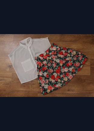 Крутая мини-юбка солнце-клеш  в цветок