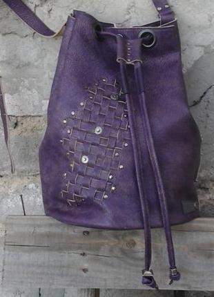 Натуральная кожа. сумка мешок кисет в бохо стиле