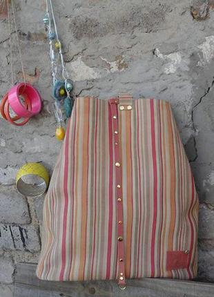 Натуральная кожа. яркий рюкзак - сумка трансформер в полоску