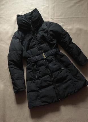 Длинный черный пуховик пуховое пальто на зиму под пояс от zara