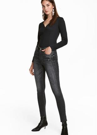 #267 серые джинсы скинни высокой посадки h&m