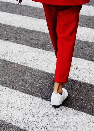 Красный коралловый классический брючный костюм удлиненный пиджак жакет4