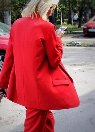 Красный коралловый классический брючный костюм удлиненный пиджак жакет2