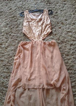 Нюдовое платье со шлейфом! rare london!