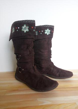 Предлагайте свою цену   зимние сапоги с вышивкой   бренд atmosphere   замша