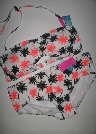 80в-с 85в рр 14 новый супер модный купальник бандо в пальмы, чашка с-д